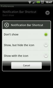 MySettings - Notification bar shortcut settings