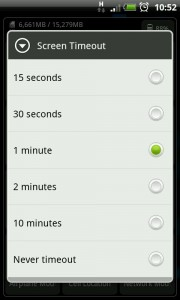 MySettings - Screen timeout settings