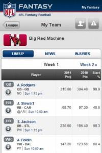 NFL.com Fantasy Football 2011 My Team Lineup