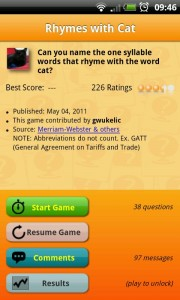 Sporcle - Rhymes with cat game