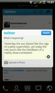 Twitter GOWidget - Post screen 2