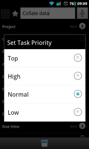Due Today - Task priority setting