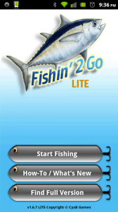 Fishing 2 Go Main Screen