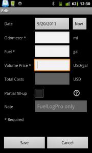 Fuel Log Car Management Add Fill Ups