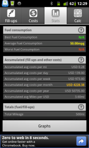 Fuel Log Car Management Stats