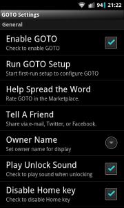 GOTO Lockscreen - Settings
