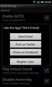 GOTO Lockscreen - Share options