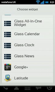 Glass Widgets - 4 widgets to choose from