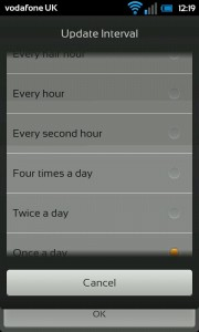 Glass Widgets - Update interval options