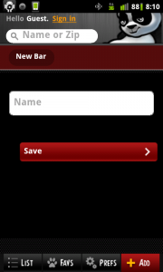 LiquidFare Create New Bar