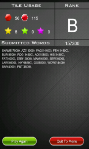 Route Words - Result screen