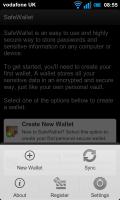 SafeWallet - Front page, Menu