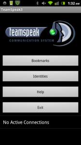 TeamSpeak Main Screen