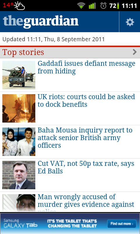 The Guardian Official Android App Popular UK Newspaper