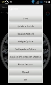 Weather,US Radar,Alerts,Quakes - Options