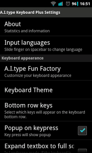 A.I.type Keyboard Plus - Settings