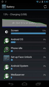 Android 4.0 Battery Usage Screen