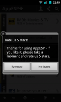 AppESP - Rating request screen