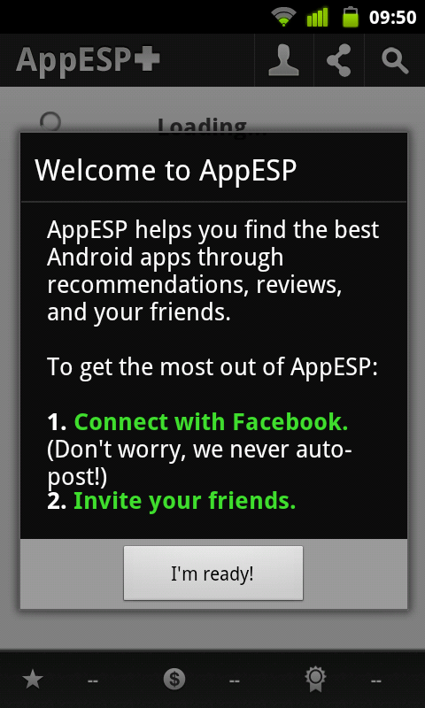 AppESP - Welcome screen
