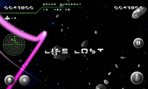 Asteroid 2012 - Life lost screen