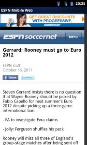 ESPN ScoreCentre - News viewer