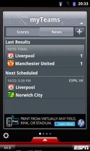 ESPN ScoreCentre - myTeams, score and upcoming fixture.