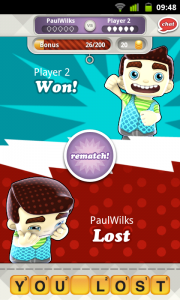 Hanging with Friends - Winner/Loser screen