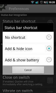 Quicker - Status bar shortcut settings
