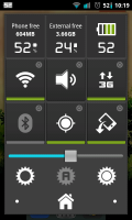 Quicker - Variety of toggles, sliders and phone info