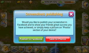 Rock The Vegas - Publish screenshots to social networks