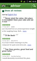 TripAdvisor - Access reviews easily from the lists