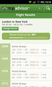 TripAdvisor - Flight search results