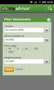 TripAdvisor - Restaurant filter
