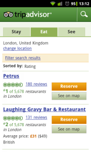 TripAdvisor - Under search by city it gives you the tabbed headings of 'Stay', 'Eat' and 'See'
