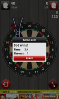 Darts 3D - Game over screen (losing)