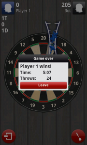 Darts 3D - Game over screen (winning)