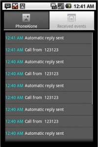 DroidAlone - Received Events