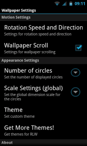 RLW Live Wallpaper Pro - Wallpaper settings menu