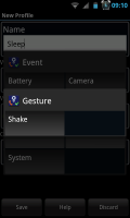 Actions - Gesture setting