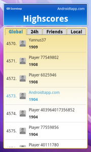 BoggleDroid Global High Scores