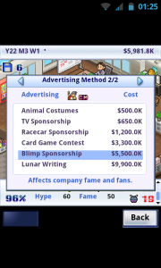 Game Dev Story - Advertising options