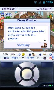 Game Dev Story - Alternative screen controls