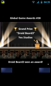 Game Dev Story - Droid Beard 3 winning the Grand Prize!