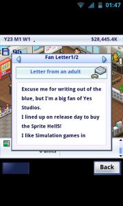 Game Dev Story - Fan letters