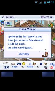 Game Dev Story - First week sales totals
