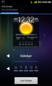 HD Widgets Select Sidebar Settings Toggles