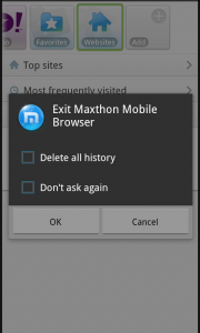 Maxthon Browser - Exit options