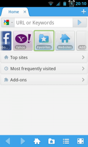 Maxthon Browser - Home Menu