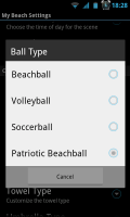 My Beach HD - Ball type settings