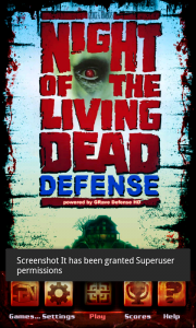 Night of The Living Dead Defense - Main menu